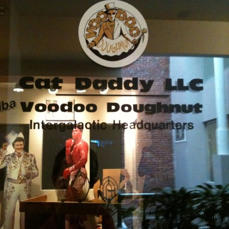 At the @voodoodoughnut HQ. Thx for the support Tres, Cat Daddy & Sara.